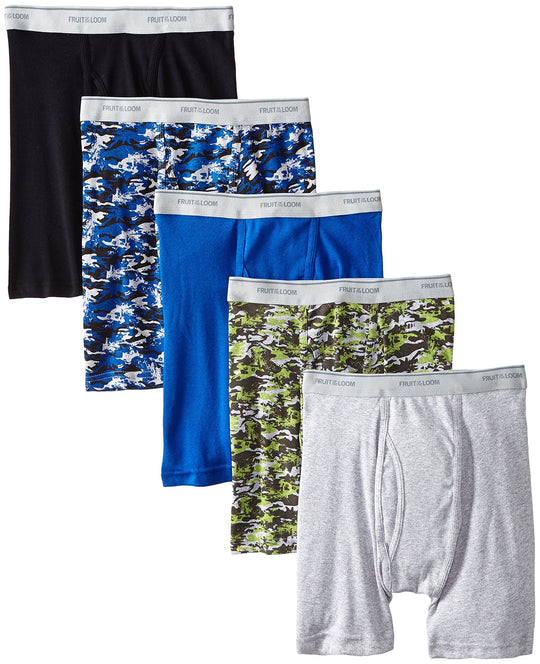 Fruit of the Loom Men`s 5-Pack No Ride Up Camo/Solid Boxer Briefs
