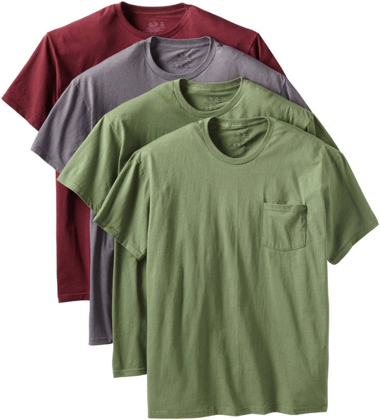 Fruit of the Loom Men`s 4-Pack Fashion Color Pocket T-Shirts