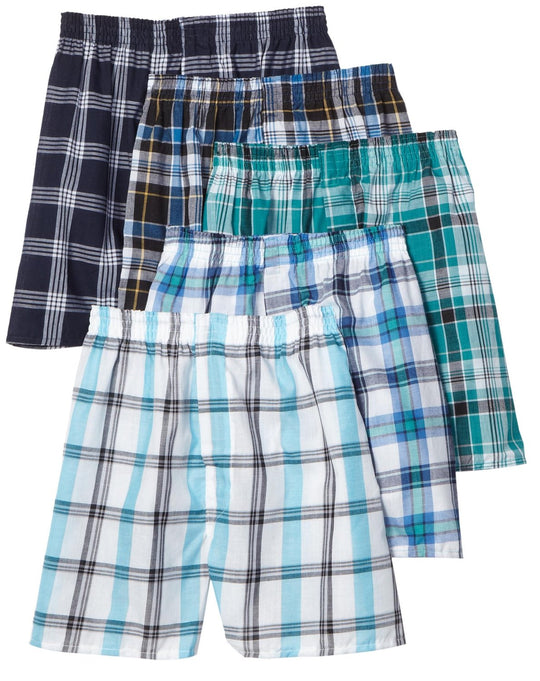 Fruit of the Loom Men`s 5pk Fashion Plaid Boxers
