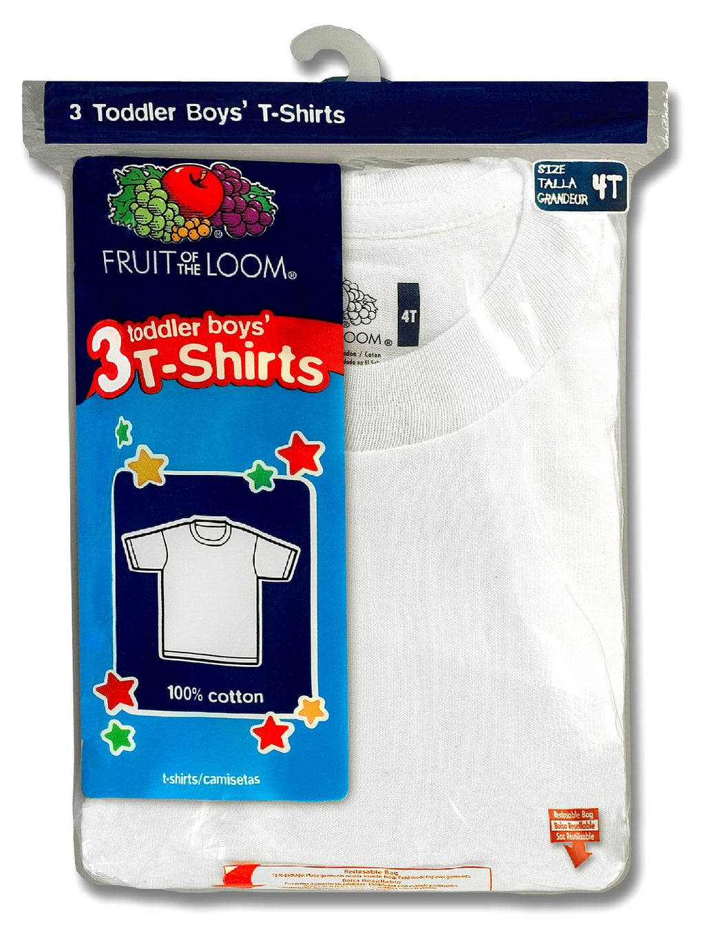 Fruit of the Loom Simply Fits Better Toddler Boys` 3pk White Crew
