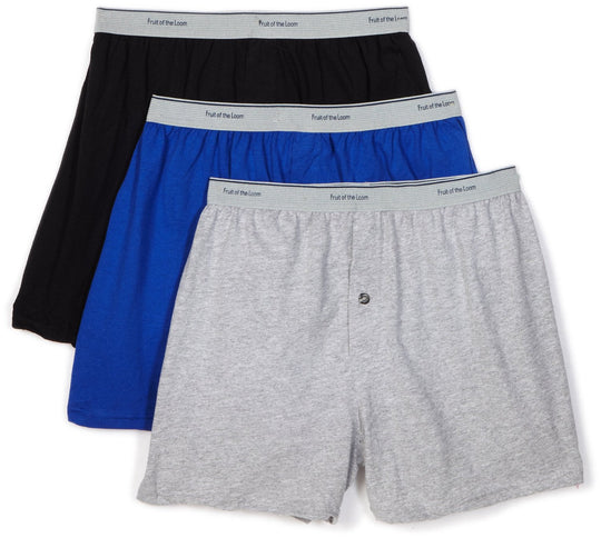 Fruit of the Loom Men`s 3-Pack Solid Knit Boxers