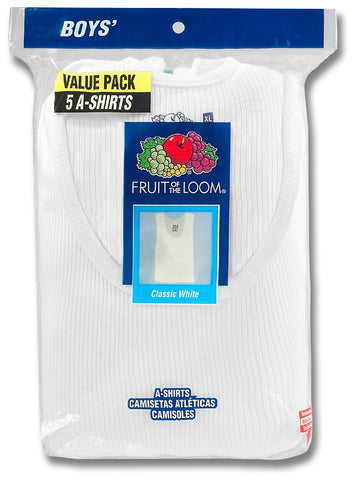 Fruit of the Loom Boys` 5-Pack White A-Shirt