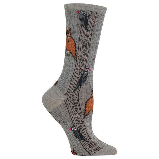 Hot Sox Womens Owl and Woodpecker Crew Socks