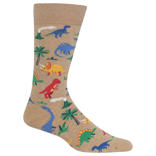 Hot Sox Mens Dinosaurs Crew Socks