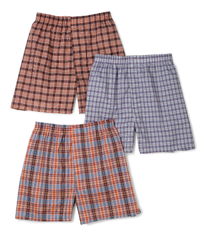Fruit of the Loom Men`s 3-Pack Assorted Tartan Plaid Boxers