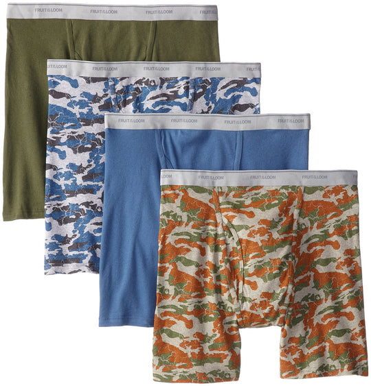Fruit of the Loom Men`s 4-Pack Print Solid X-Size Boxer Brief