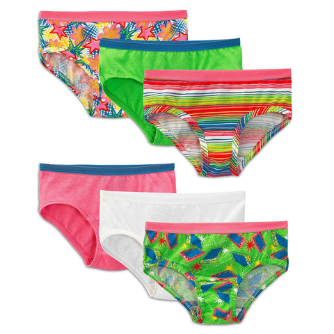 Fruit of the Loom Girls` 6-Pack Wardrobe Low Rise Brief