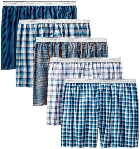 Fruit of the Loom Men`s 5pk Exposed Waistband Woven Boxers