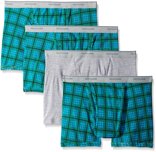 Fruit of the Loom Short Leg Men`s 4-Pack Assorted Boxer Brief