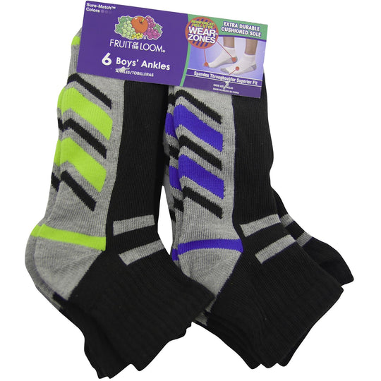 Fruit of the Loom Boys Core 6 Pack Ankle Socks