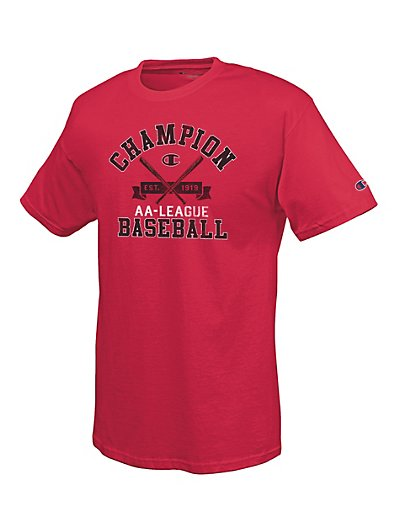 Champion 100% Cotton Men's T Shirt with 'City League Baseball' Graphic