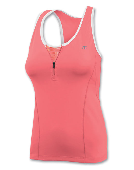 Champion Double Dry® 1/4-Zip Workout Tank Top with Built-In Medium-Support Bra