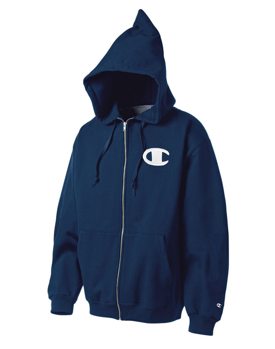 Champion Men`s Super Hood® Full-Zip Hoodie with Big Raised Embroidered C