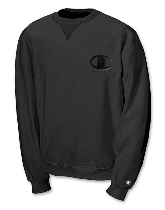 Champion Men`s Super Fleece Sweatshirt with Big Raised Embroidered C Logo