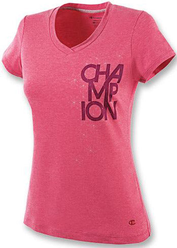 Champion Double Dry Cotton Women's T Shirt with Triad Logo Graphic