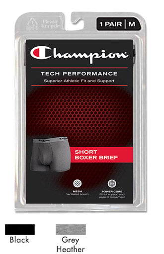 CHAMPION Men's Tech Performance Short Boxer Brief - CTP3