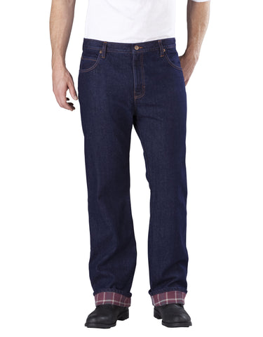 Dickies Mens Relaxed Straight Fit Flannel-Lined Denim Jeans