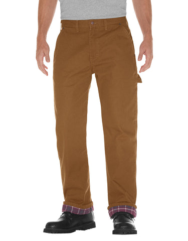 Dickies Mens Relaxed Straight Fit Flannel-Lined Carpenter Duck Jeans