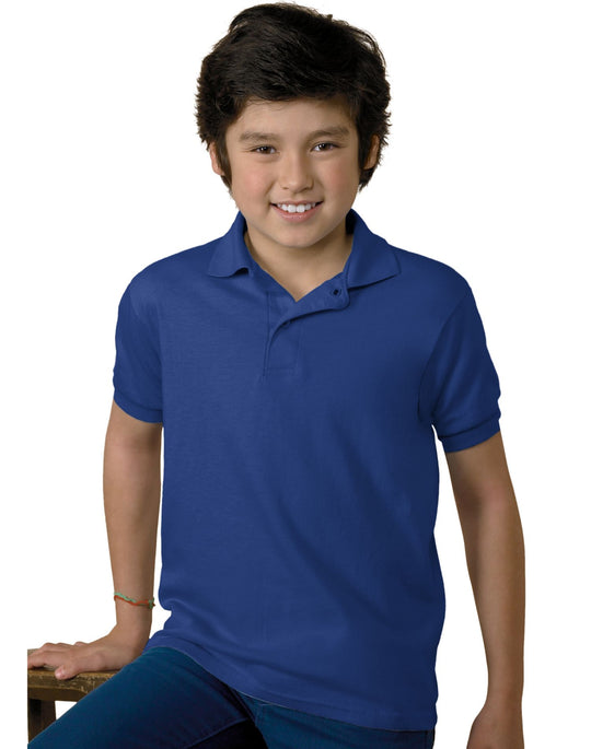 Hanes 5.2 oz Youth Blended Jersey Polo