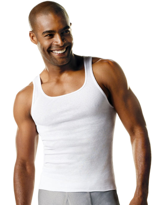 Hanes Men`s Tall TAGLESS ComfortSoft Tank Undershirt 3-Pack