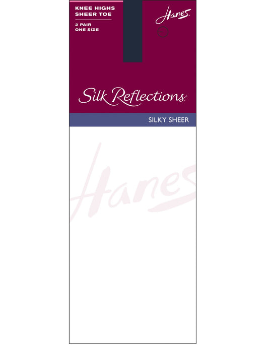 Hanes Silk Reflections Knee Highs, Sandalfoot 2 Pair Pack