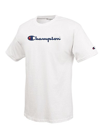Champion 100% Cotton Men's T Shirt with Embroidered-Look Script Logo Graphic