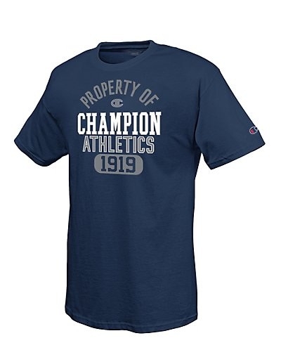 Champion 100% Cotton Men's T Shirt with Distressed Heritage 'Property of CHAMPION Athletics' Graphic