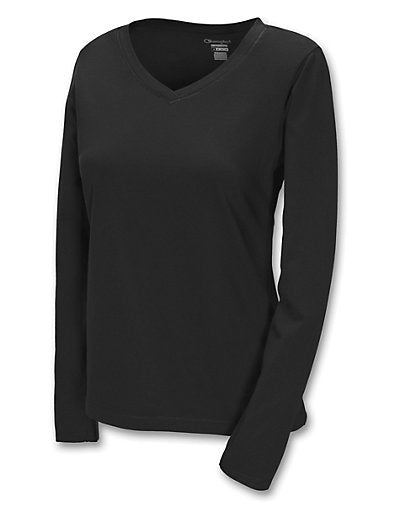Champion 100% Cotton V-Neck Long-Sleeve Women's T Shirt