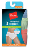 Hanes Womens Comfortsoft Waisband Stretch Low Rise Briefs w/ Lace
