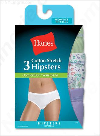 Hanes Women's Cotton Stretch Hipsters with ComfortSoft Waistband 3-Pack