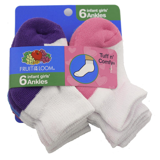 Fruit Of the Loom Girls Core Infant-Toddler 6 Pack Ankle Socks
