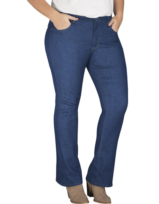Dickies Womens Plus Size Perfect Shape Bootcut Stretch Denim Jean