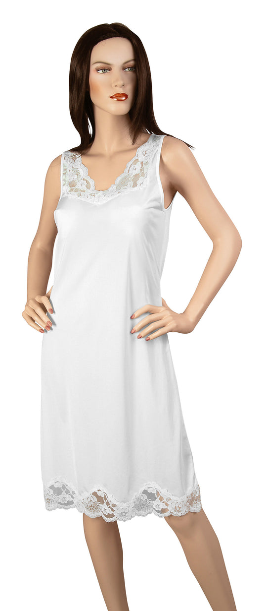 Gemsli Elegance, Nylon Full Slip with Stretch Lace, Cling Free
