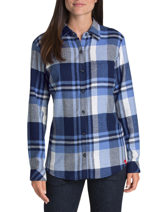 Dickies Womens Plus Long Sleeve Plaid Shirt