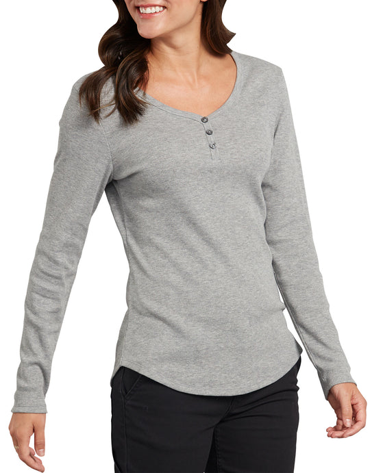 Dickies Womens Plus Long Sleeve Henley Shirt