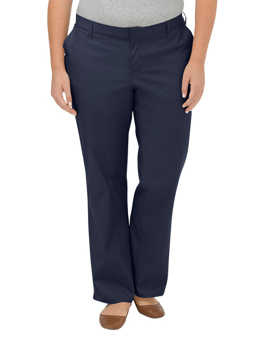 Dickies Womens Plus Size Premium Relaxed Straight Flat Front Pants