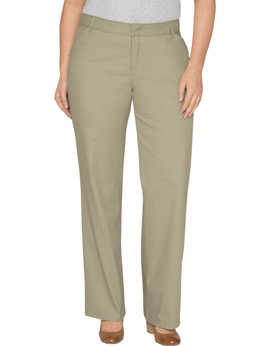 Dickies Womens Plus Size Relaxed Fit Straight Leg Stretch Twill Pant