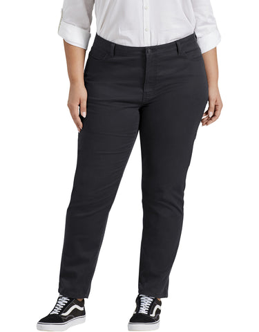 Dickies Womens Plus Size Perfect Shape Skinny Twill 4-Pocket Pants