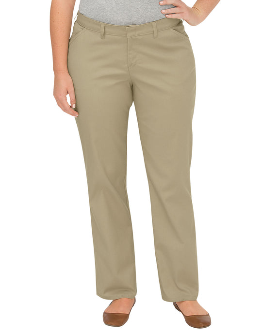 Dickies Womens Plus Size Premium Curvy Fit Straight Leg Flat Front Pants