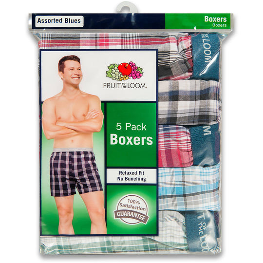 Fruit of the Loom Men`s 5pk Exposed Waistband Blues Woven Boxers