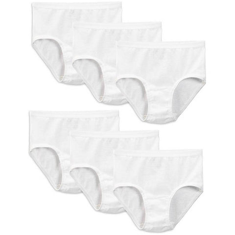 Fruit of the Loom Girls` 6-Pack White Briefs