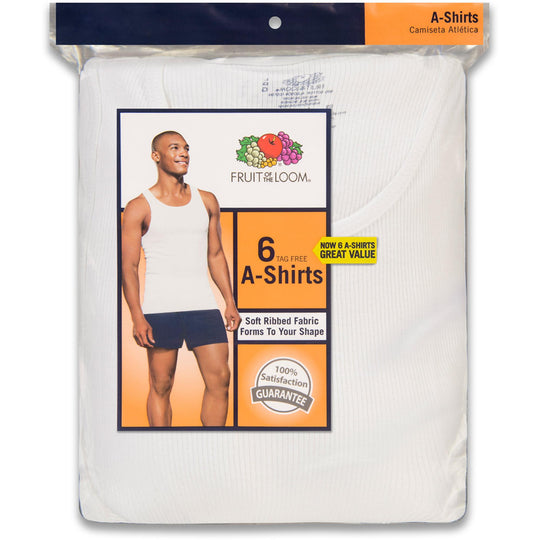 Fruit of the Loom Men`s 6-Pack White A-Shirts