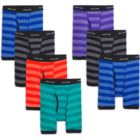 Fruit of the Loom Boys` 7-Pack Striped Boxer Brief