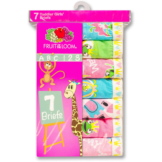 Fruit of the Loom Toddler Girl`s 7-Pack Learning Theme Briefs