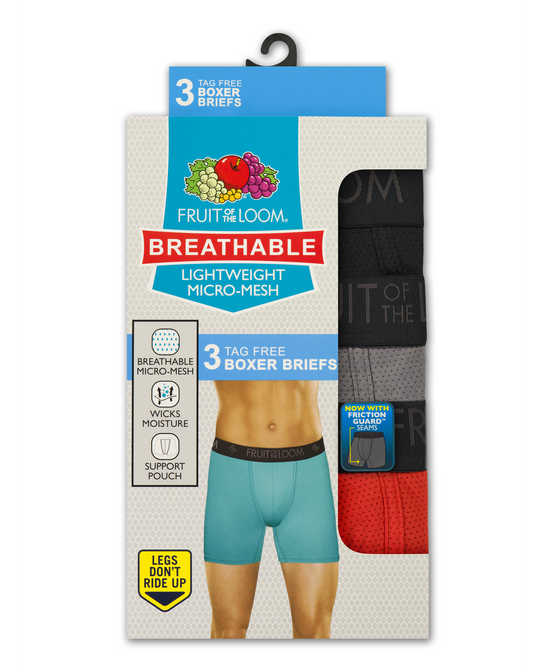 Fruit of the Loom Mens 3-Pack Breathable Lightweight Micro Mesh Boxer Briefs