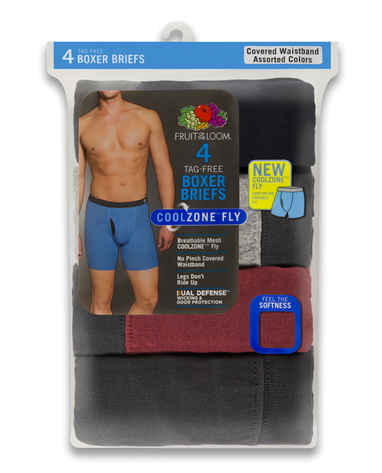 Fruit Of The Loom Mens Coolzone Covered Waistband Extended Sizes Boxer Briefs 4 Pack