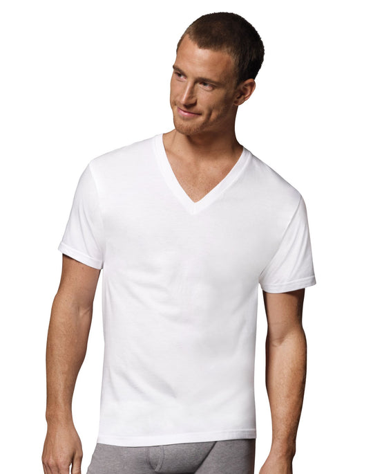 Hanes Men's TAGLESS V-Neck Undershirt 6-Pack