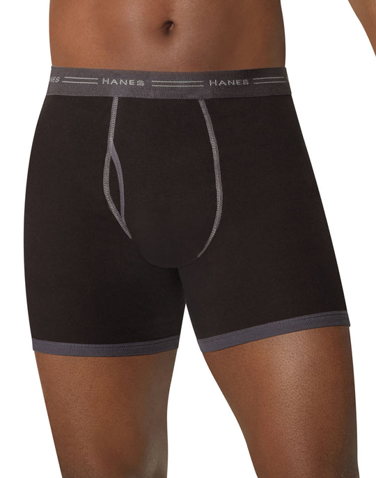 Hanes Men's TAGLESS Ringer Boxer Briefs with Comfort Flex Waistband 5-Pack