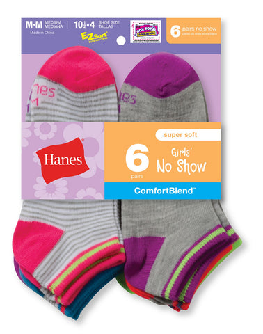Hanes Girls` Fashion ComfortBlend No Show Socks 6-Pack