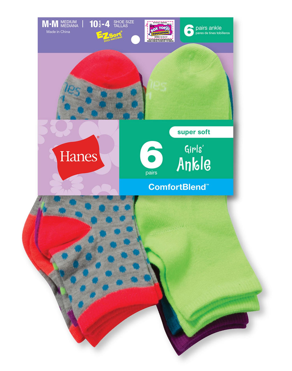 Hanes Girls` Fashion ComfortBlend Ankle Socks 6-Pack